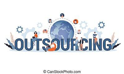背景, イラスト, ベクトル, outsourcing, 概念, 白