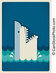 背景, イラスト, poster., ベクトル, サメ