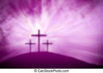 背景, イースター, 宗教, 貸された, 紫色