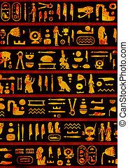 背景, エジプト人, 古代, グランジ, 象形文字