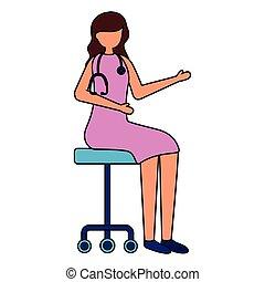 背景, オフィス, 医者, 座っている女性, 椅子, 白