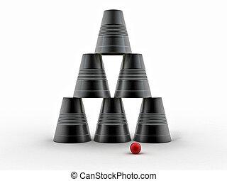 背景, カップ, 隔離された, ピラミッド, 裏返された, プラスチック