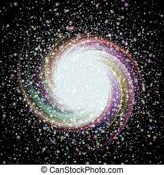 背景, カラフルなライト, 黒, 星, 渦巻, 星