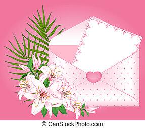 背景, カード, 結婚式