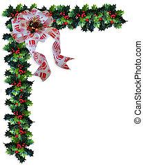 背景, クリスマス, ボーダー, 西洋ヒイラギ