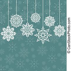 背景, クリスマス, 変化, 雪片