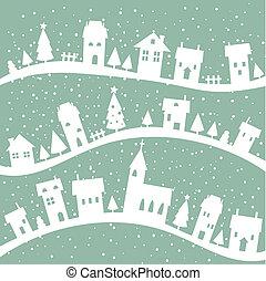 背景, クリスマス, 村, 冬