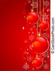 背景, クリスマス, 赤