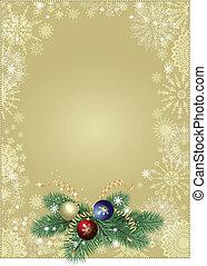 背景, クリスマス, 金
