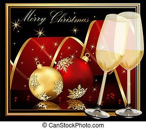 背景, クリスマス, 金, 赤