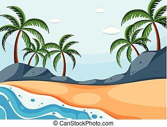 背景, ココナッツ, 浜 場面, 木