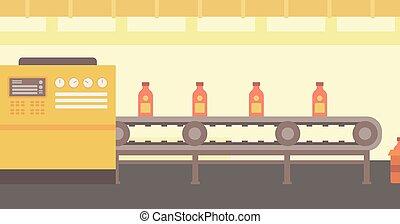 背景, コンベヤー, bottles., ベルト