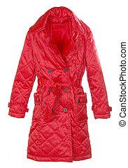 背景, コート, 隔離された, 女性, 白い赤