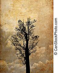 背景, シルエット, グランジ, 木