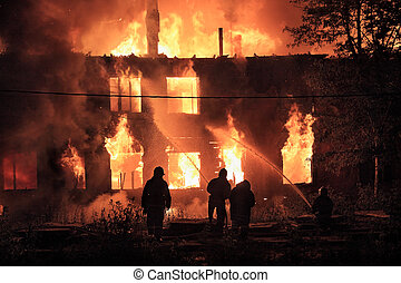 背景, シルエット, 火, 消防士
