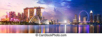 背景, シンガポール, スカイライン