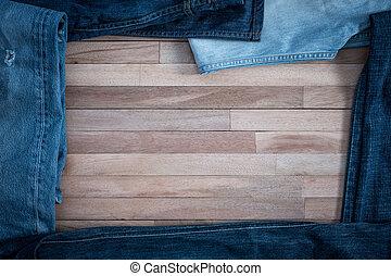 背景, ジーンズ, グランジ, 木製である