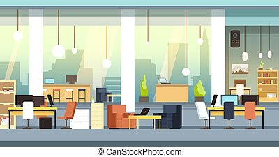 背景, スペース, オフィス, coworking, ベクトル, ワークスペース, interior., 開いた, 空