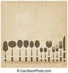背景, セット, 古い, cutlery, テーブルウェア