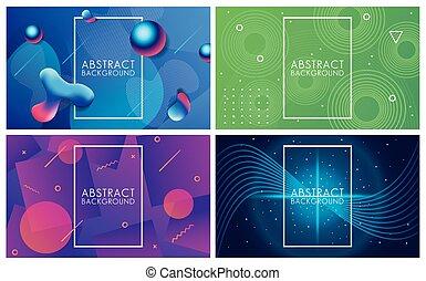 背景, セット, 抽象的, 鮮やか, 液体, 色