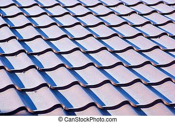 背景, タイルの屋根, 青, 金属