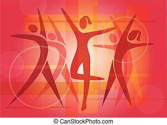 背景, ダンス, フィットネス, カラフルである