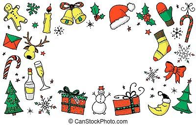 背景, テキスト, 漫画, クリスマス, 場所, あなたの