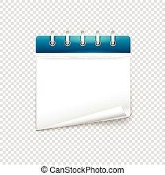 背景, テキスト, mockup., ペーパー, ベクトル, 日記, テンプレート, 透明