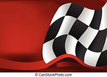 背景, デザイン, checkered, 波, 旗, レース