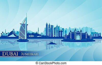背景, ドバイ, jumeirah, スカイラインのシルエット
