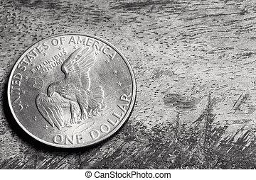 背景, ドル, グランジ, 銀
