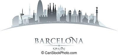 背景, バルセロナ, スカイライン, スペイン, 都市, シルエット, 白