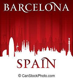 背景, バルセロナ, スカイライン, スペイン, 都市, 赤, シルエット