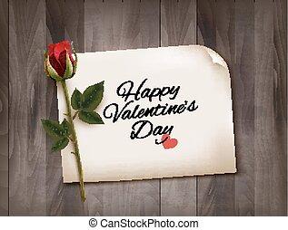 背景, バレンタイン, 木製である, rose., メモ, 壁, vector., 日, 赤, 幸せ