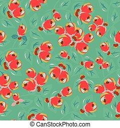 背景 パターン, ベクトル, 緑, seamless, flowers.