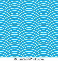 背景 パターン, seamless, 青, 抽象的, 波