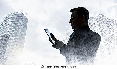 背景, ビジネスマン, 彼の, 建物。, オフィス, タブレット, 手, コンピュータ