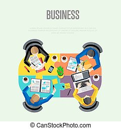 背景, ビジネス, concept., ワークスペース, 平面図
