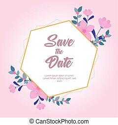 背景, ピンクの花, 結婚式, 日付, 挨拶, 自然, カード, を除けば, 活気づきなさい