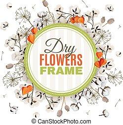 背景, フレーム, 乾きなさい, 花, floristic