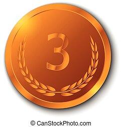 背景, ブランチ, オリーブ, 白, メダル, 銅