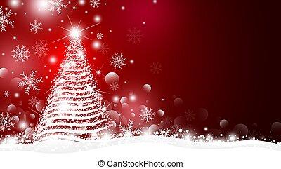 背景, ベクトル, デザイン, 赤, 木, クリスマス, イラスト, ライト, bokeh