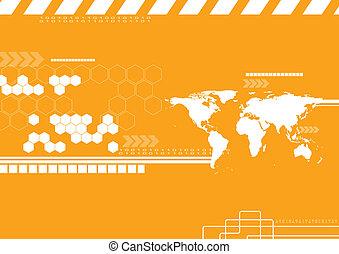 背景。, ベクトル, 世界地図, 技術
