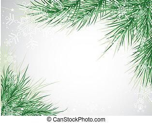 背景, ベクトル, 木, クリスマス, 雪片
