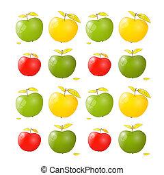 背景, ベクトル, 黄色, アップル, 赤い緑