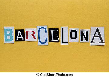 背景, ペーパー, 単語, バルセロナ, 黄色