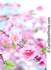 背景, ボーダー, 花, 春, ピンク