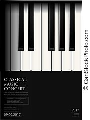 背景, ポスター, 音楽, テンプレート, グランドピアノ