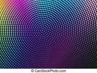 背景, レトロ, mesh., holographic, halftones, 明るい, 格子, psychedelic, synthwave, ネオン, ゆがめられた, カラフルである, ベクトル, イラスト, 円, 抽象的, 未来派, vaporwave, cyberpunk, 真珠のよう