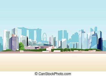 背景, 光景, スカイライン, シンガポール市, 超高層ビル